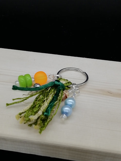 Keyring - Green Cream Tassel Beads