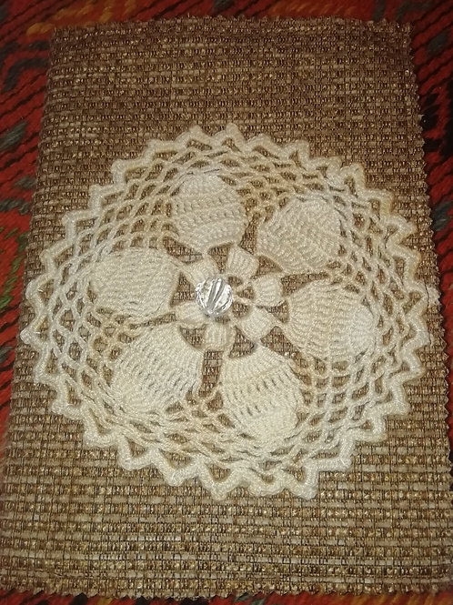 Covered Notebook - Brown with Cotton Lace