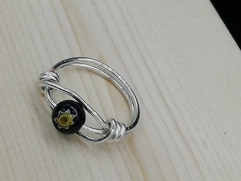 Ring - Viking Silver Bead Black Small