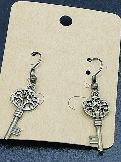 Earrings - Antique Brass Key 139