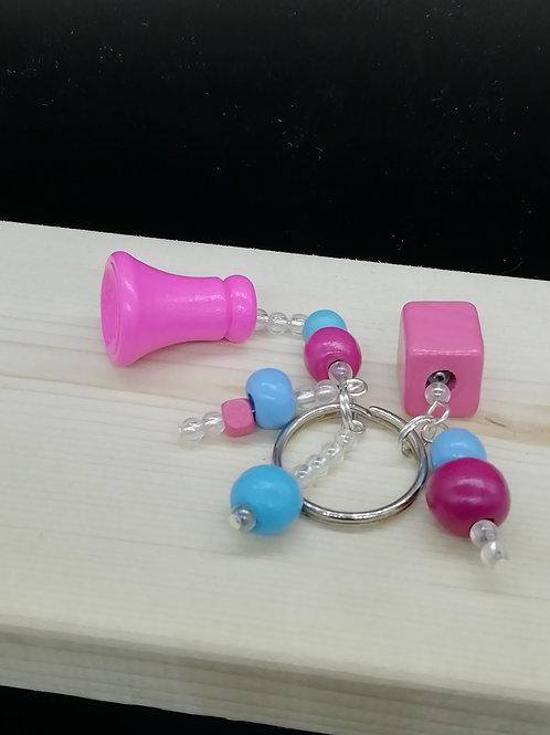 Keyring - Pink Blue Square Funnel