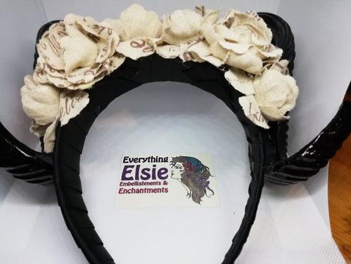 Headdress - Horned Beige Flowers