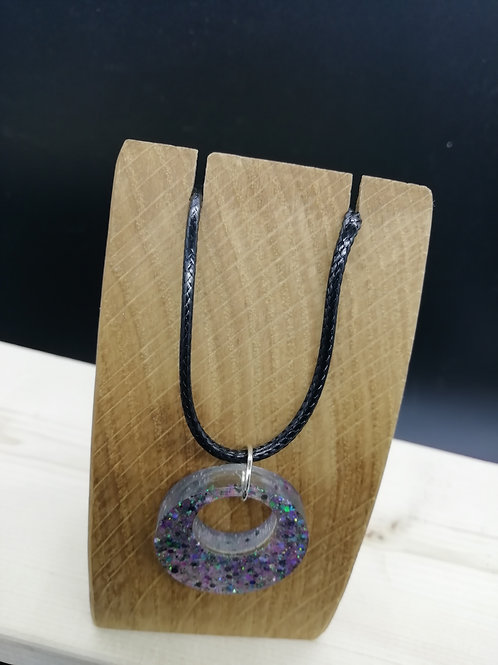 Necklace - Resin Clear Glitter Pendant