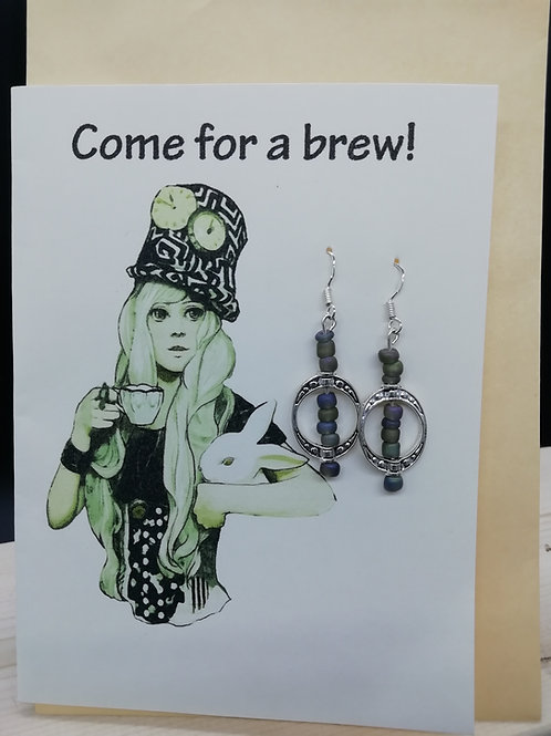 Card - Come For a Brew Rabbit Bead Earrings