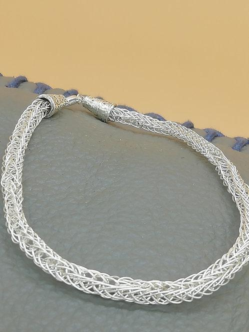 Viking Knit Wire Bracelet Conical Ends L/XL