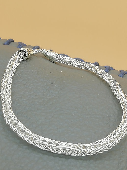 Viking Knit Wire Bracelet Conical Ends L/XL