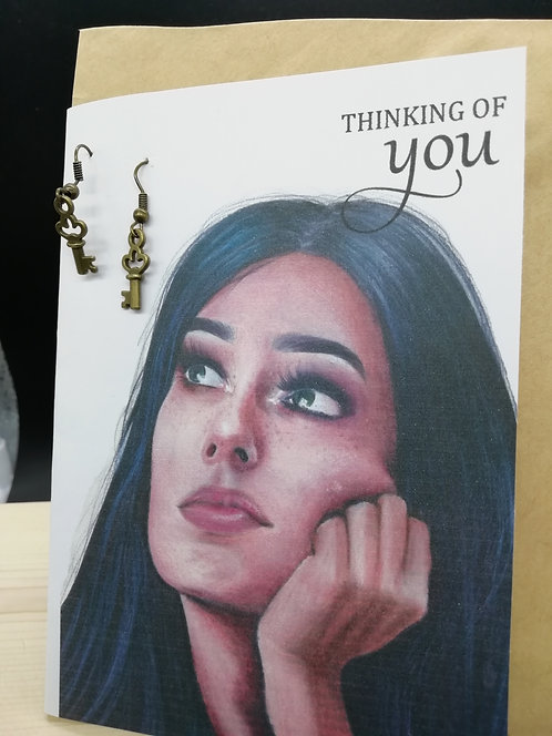 Card - Thinking of You Bronze Keys Thoughtful Woman