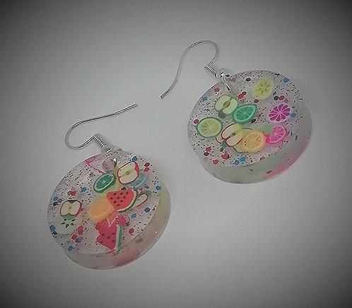Earrings - Resin Citrus Circles