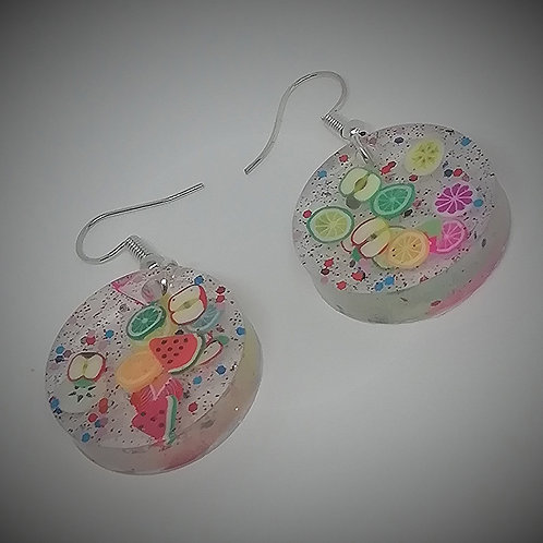 Earrings - Resin Citrus Circles