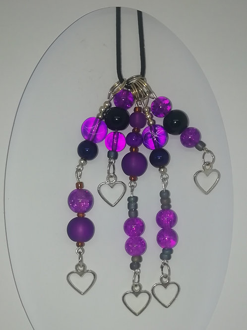 Necklace - Silver Purple and Black Pendant
