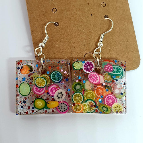 Earrings - Resin Citrus Squares