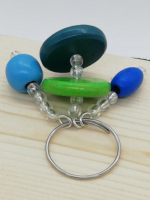 Keyring 3 Bead Strands Blue Green