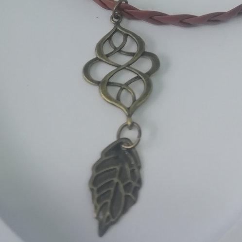 Necklace - Brown Plait, Antique Brass