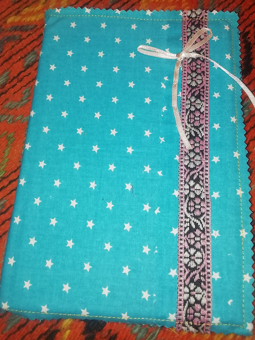 Covered Notebook - Turquoise Cotton Stars