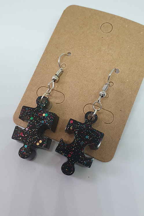 Earrings - Black Resin Jigsaw
