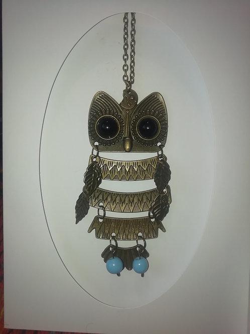 Necklace - Large Brass Hinged Owl Upcycled