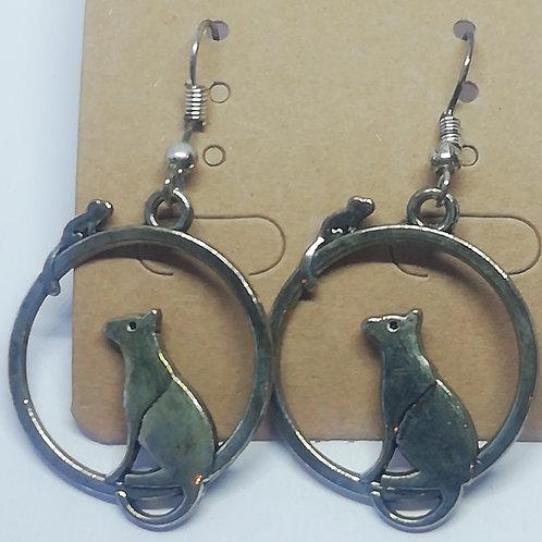 Earrings - Cat in Hoop