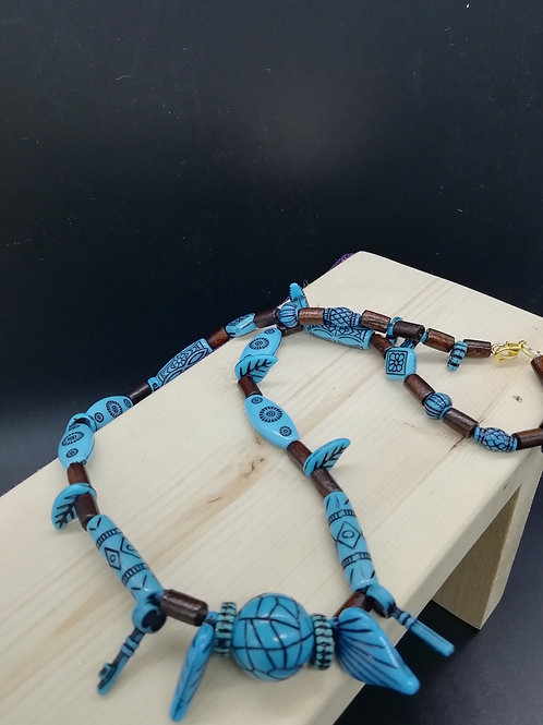 Necklace - Blue Ethnic and Wood Beads Leaves