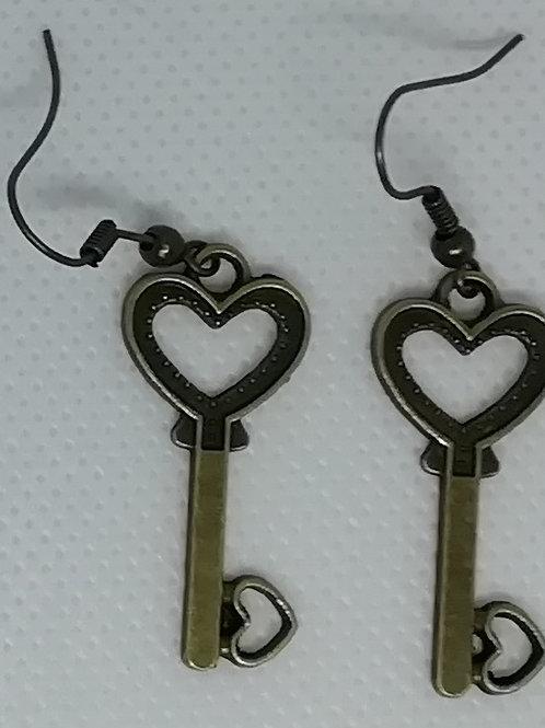 Earrings Antique Brass Key 082