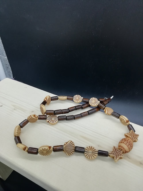 Necklace - Wood and Ethnic Beads Cream