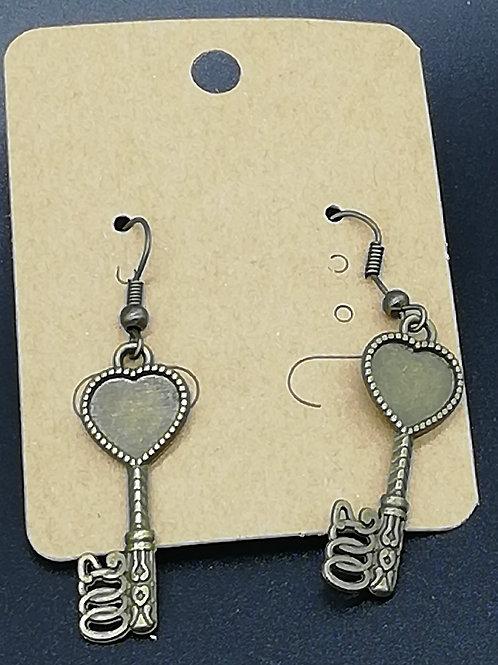 Earrings - Antique Brass Key 137