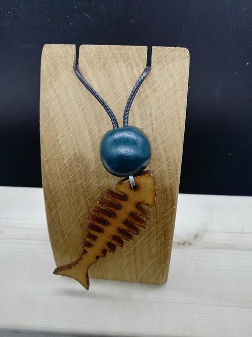 Necklace - Wood Fish Bones Green Bead