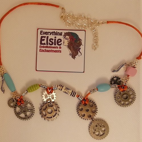 Necklace - Colourful Cogs and Beads