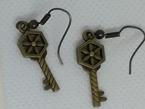 Earrings Antique Brass Key 088