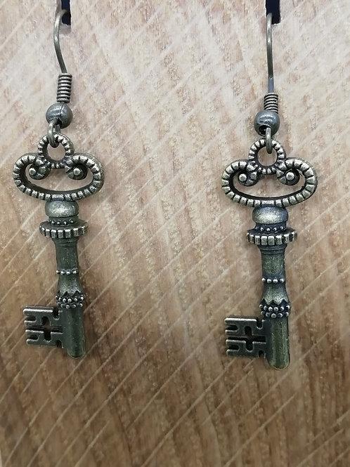 Earrings - Antique Brass Key Fancy