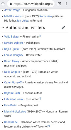 Writers with gypsy roots 1