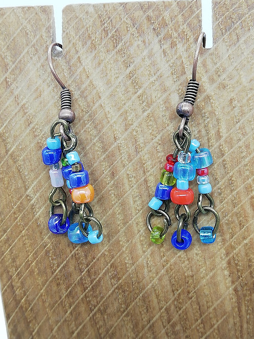 Earrings - Antique Brass Little Beads