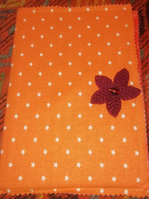 Covered Notebook - Orange Cotton Stars