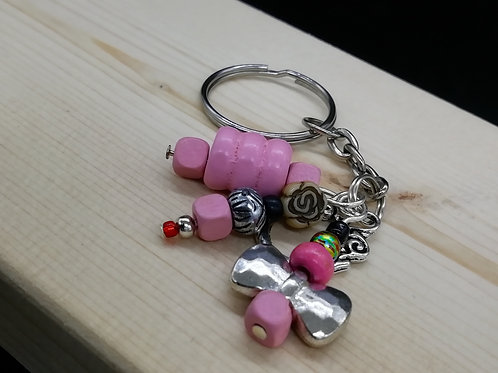 Keyring - Pink Silver Beads Butterfly 005