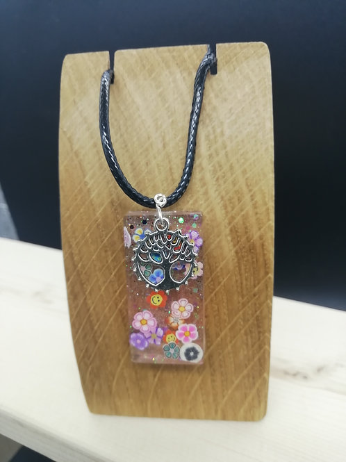 Necklace - Resin Flower Pendant and Tree