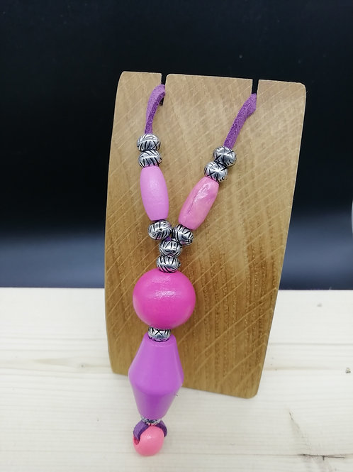 Necklace - Pink Silver Dropper Purple