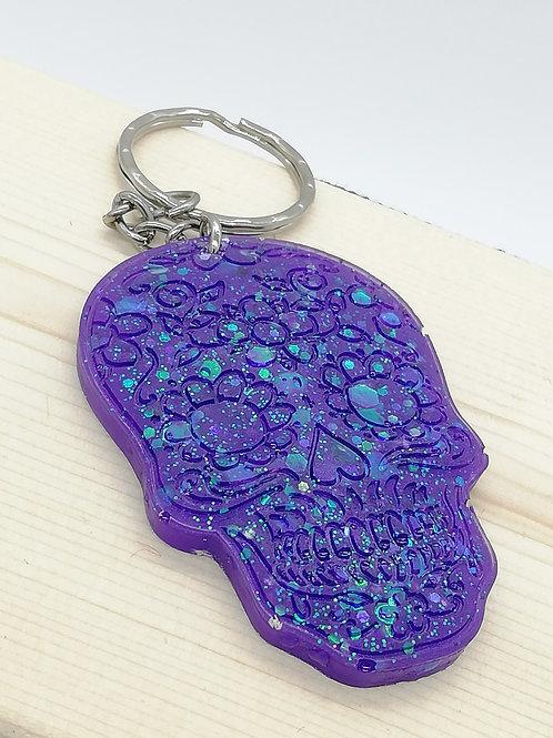 Keyring - Sugar Skull Purple Glitter