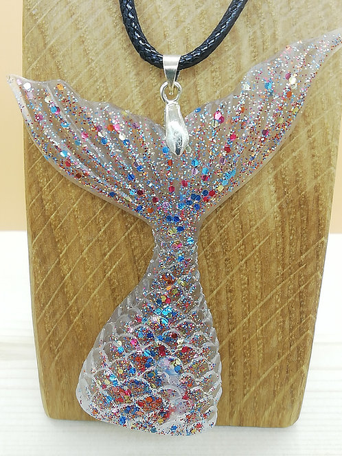 Necklace - Mermaid Tail Clear Resin Glitter
