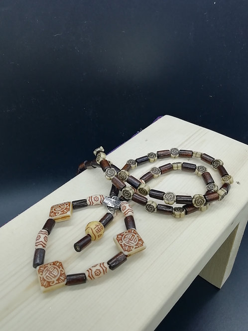 Necklace - Brown Cream Ethnic Beads Dropper