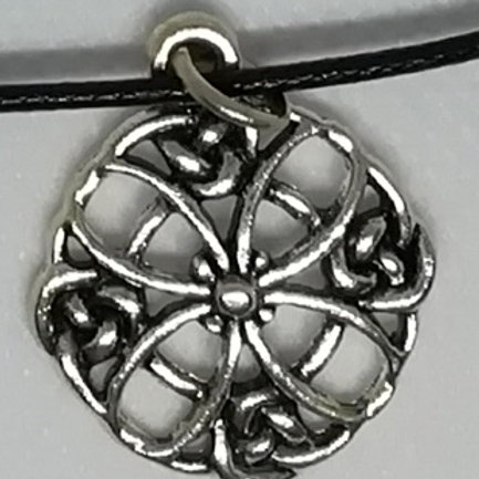 Necklace - Silver-Coloured Circle Flower