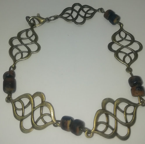 Bracelet - Antique Brass Wood Beads