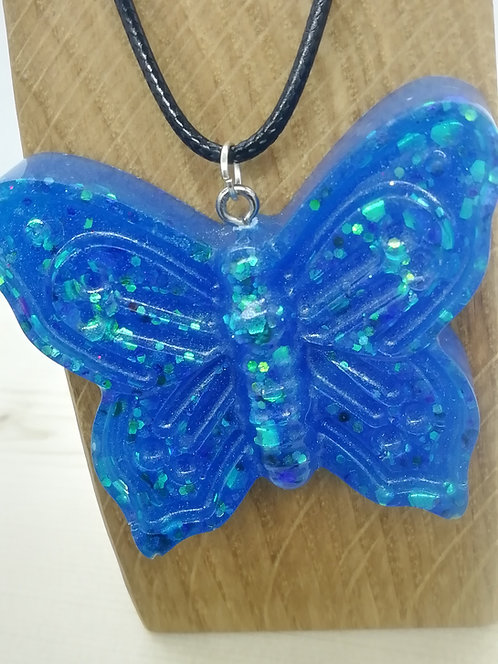 Necklace - Bright Blue Butterfly Resin