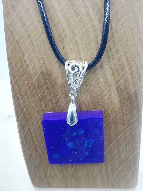 Necklace - Bright Blue Resin Square