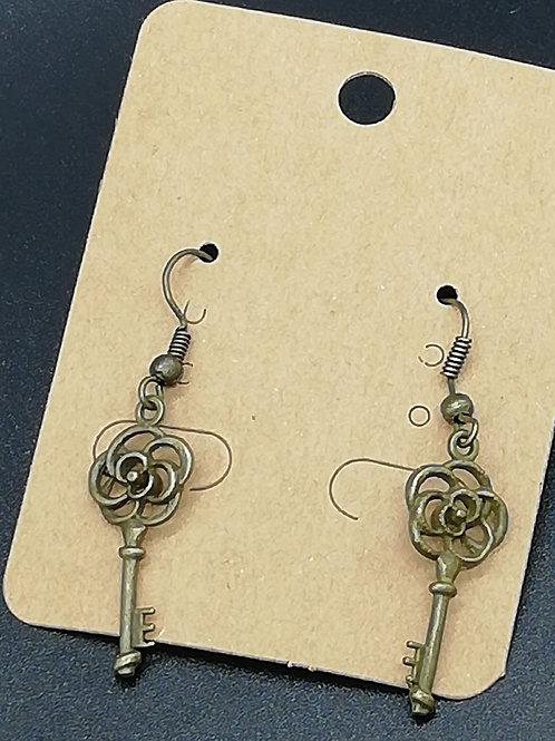 Earrings - Antique Brass Key 140