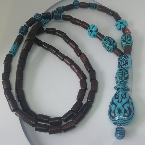 Necklace - Wooden and Blue Ethnic