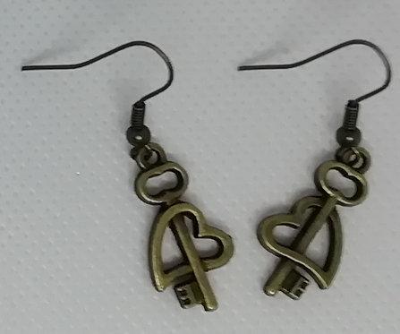 Earrings Antique Brass Key 084