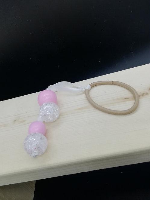 Hair Elastic Bobble - Pink Clear Glitter Beads