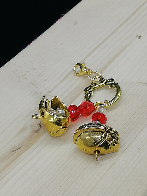 Charm - Gold Helmet Clear Red