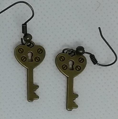 Earrings Antique Brass Key 087