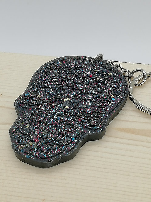 Keyring - Sugar Skull Black Glitter
