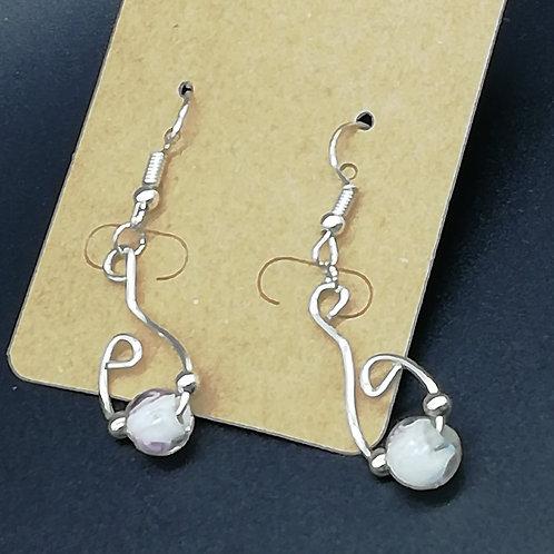 Earrings - Twisted Wire White Bead